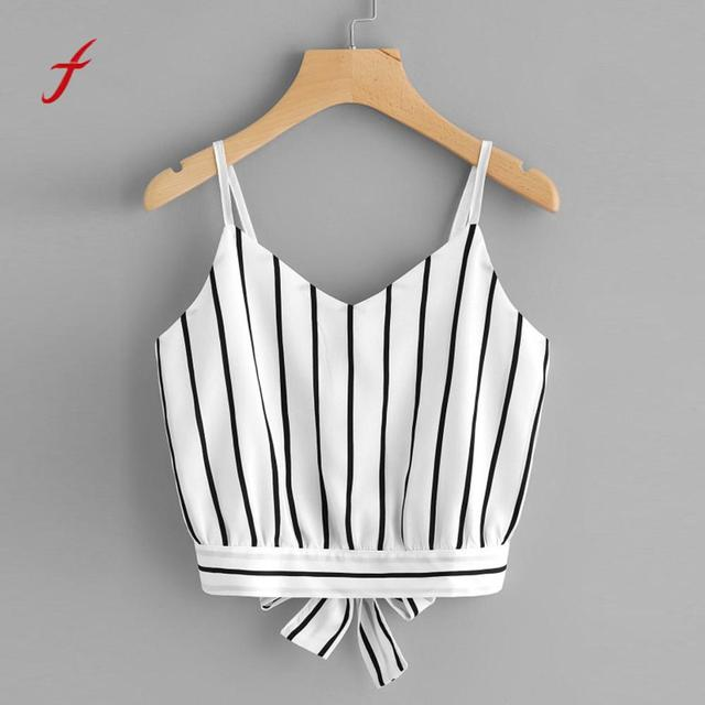 4da33255f4 Women's Self Tie Back V Neck Striped Crop Cami Top Camisole Blouse Crop Tops  Short Tops Camis Tank Female Backless