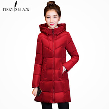 Pinky Is Black New Autumn Winter Coat Women Jacket Long Parkas Woman Clothes Solid Slim Womens Jackets And Coats