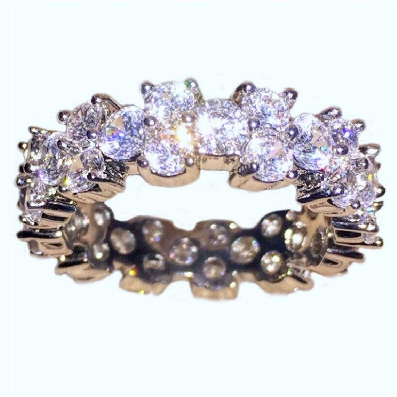Choucong Jewelry 10KT Белое Золото Заполненные проложить Установка Полный CZ коктейльное кольцо палец для женщин подарок девочек Размеры 5,6, 7,8, 9,10