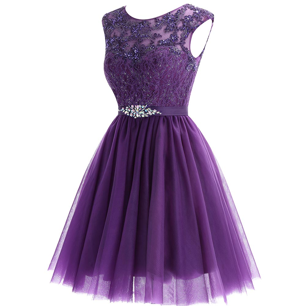 Image 2 - Cute Short Purple Homecoming Dress 2019 Mini Beaded Lace Homecoming Dress Tulle Homecoming Gown Crystal Cheap Graduation Dress-in Homecoming Dresses from Weddings & Events