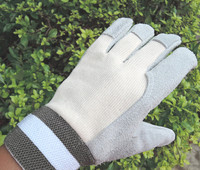 Free Shipping 2 Pairs Cow Split Leather Cotton Stripe Cloth Working Protecting Gloves Gardening Welding And