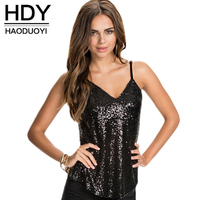 HDY Haoduoyi Sexy Female Tank Sequins Slim Tank Backless Party Women Tank Tops Deep V Neck