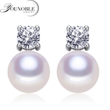 Genuine natural freshwater pearl earrings for women,bridal 925 sterling silver jewelry birthday gift