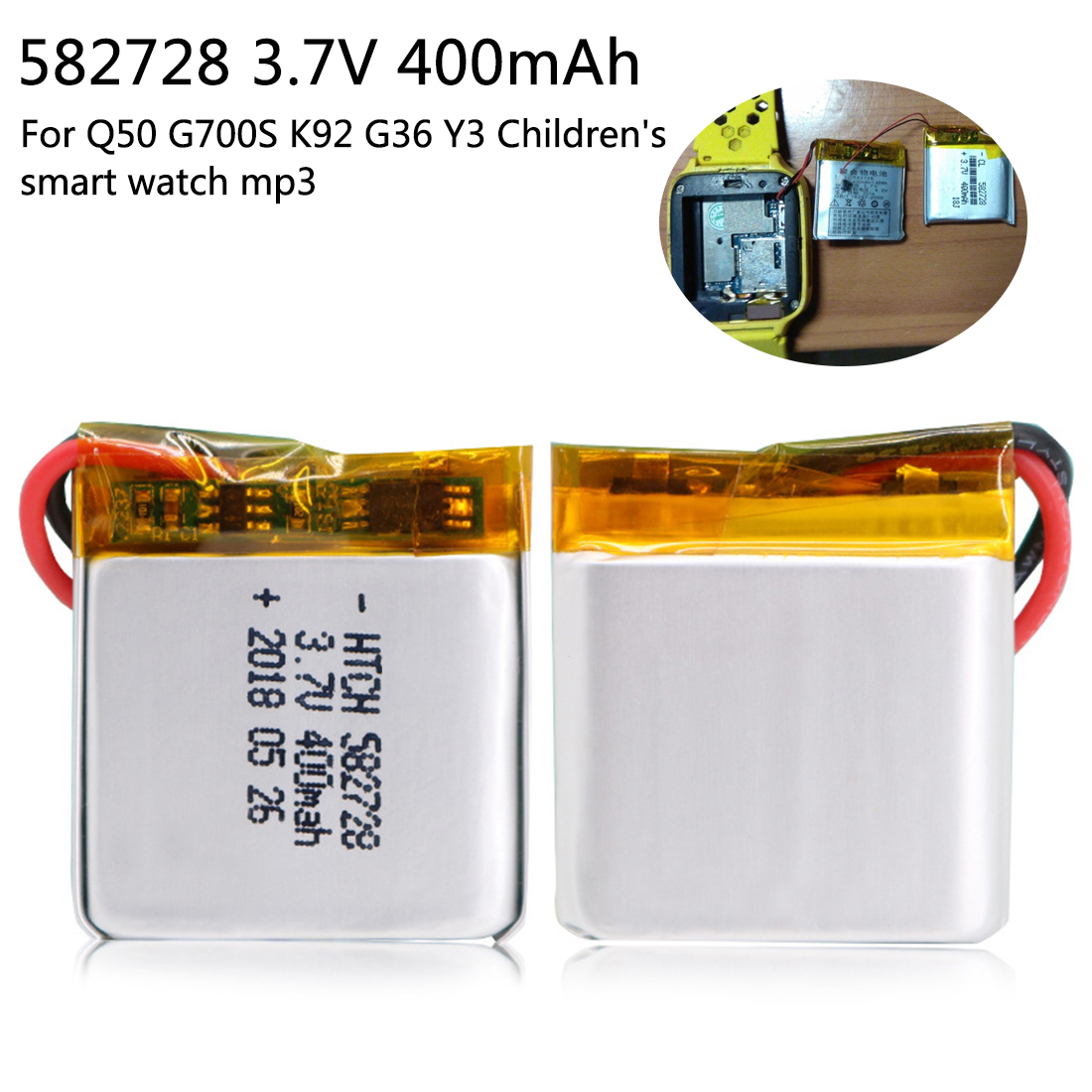 Replacement Batteries 582728 3.7v 400mah Rechargeable Li-polymer Li-ion Battery For Q50 G700s K92 G36 Y3 Childrens Smart Watch Mp3 Bluetooth Headset Batteries