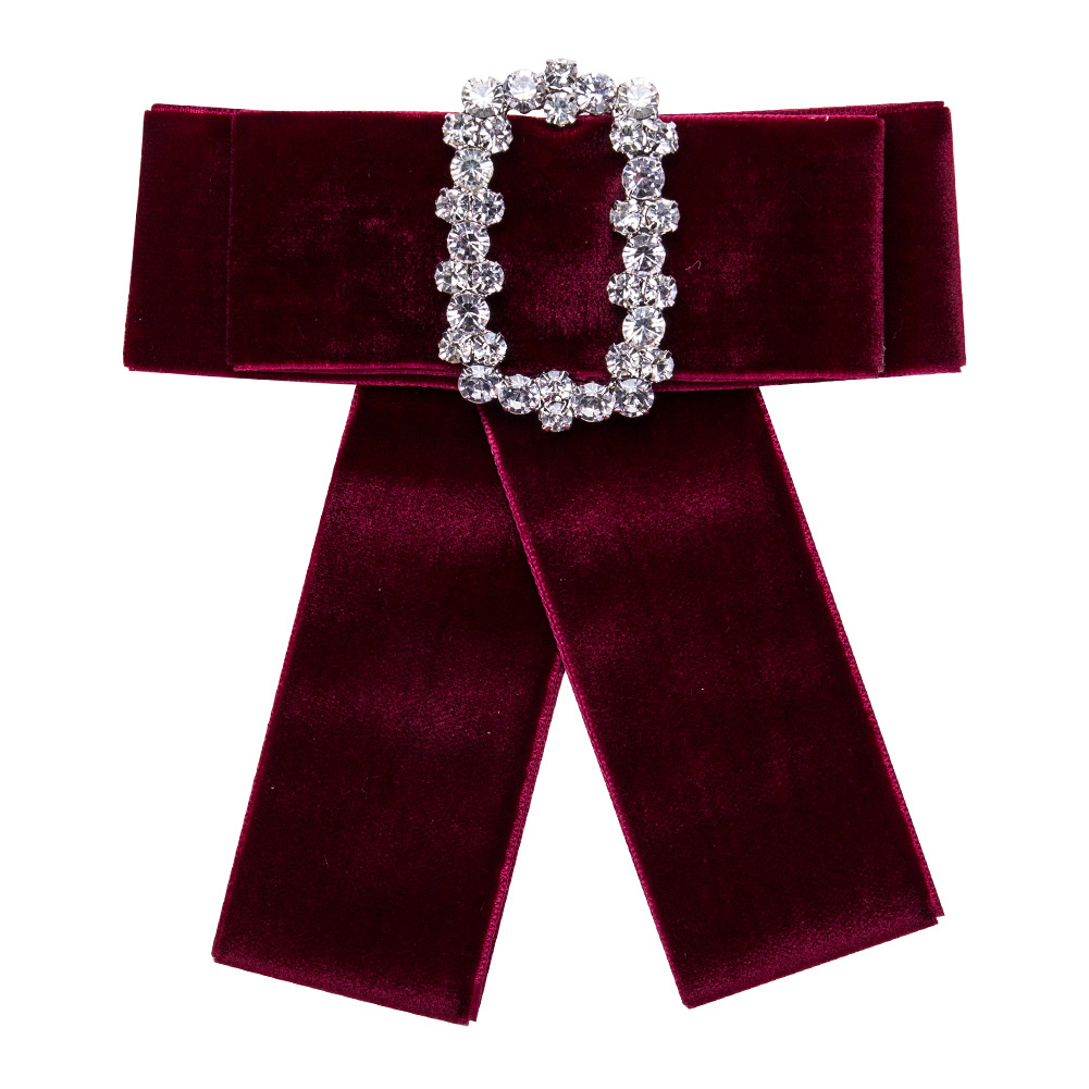 Lukeni 6 Colors Bohemian Temperament Square Rhinestone Velvet Bow Tie Brooches For Women Child Fashion Jacket Ornament Jewelry