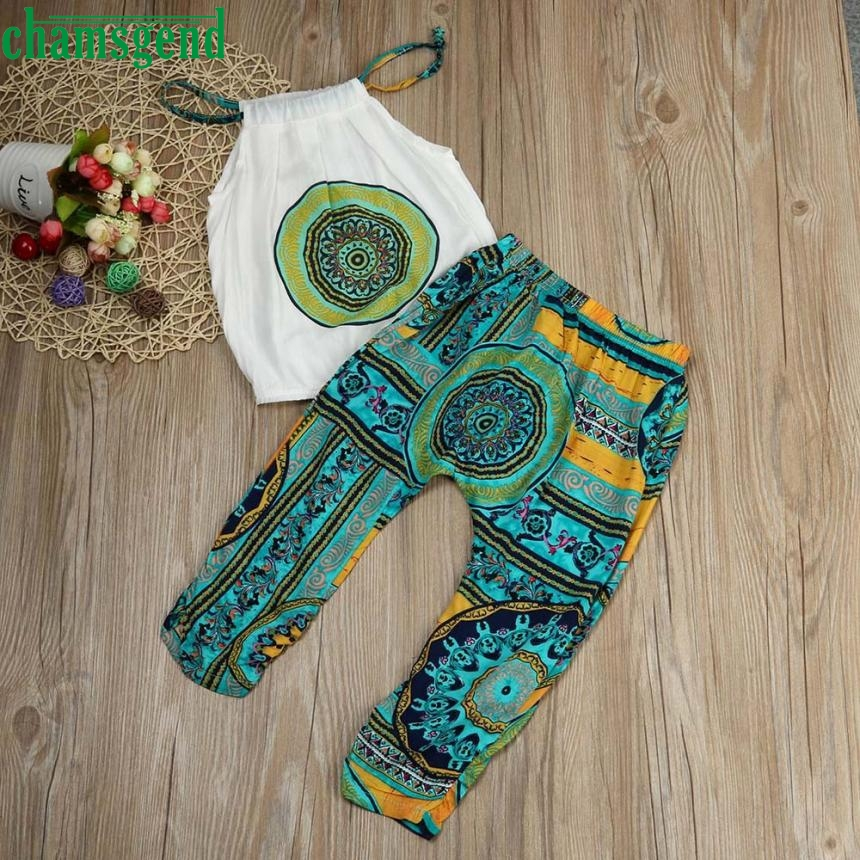 CHAMSGEND 2pcs Toddler Kids Baby Girls T-shirt Tops+Pants Summer Beach Outfits Clothes Set may 25 P30 catimini girls t shirt 04 25
