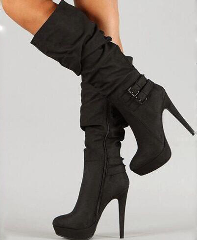Beautiful fashion free postage black suede, decorative buckle, waterproof 2.5 <font><b>cm</b></font>, <font><b>14</b></font> <font><b>cm</b></font> high-<font><b>heeled</b></font> <font><b>boots</b></font>. Size: 35-43 image