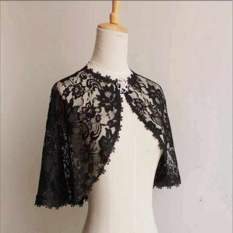 a459d584d ... Black Lace Bridal Wraps Wedding Bolero Women Shawl Evening Capes Short  Wedding Wrap Vintage Wedding Accessories ...