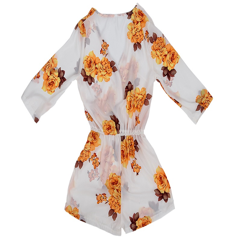 Women Elegant Floral Print Summer White V Neck Chiffon Jumpsuits Waist Casual Short Loose Rompers Sexy Beach Girls Plus Size New