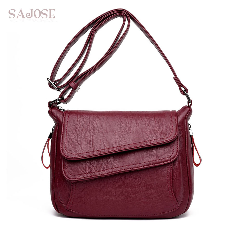 Women Leather High Quality Simple Handbag Red Shoulder Bag Sac A Main Femme Luxury Designer Lady Messenger Bags Drop Shipping