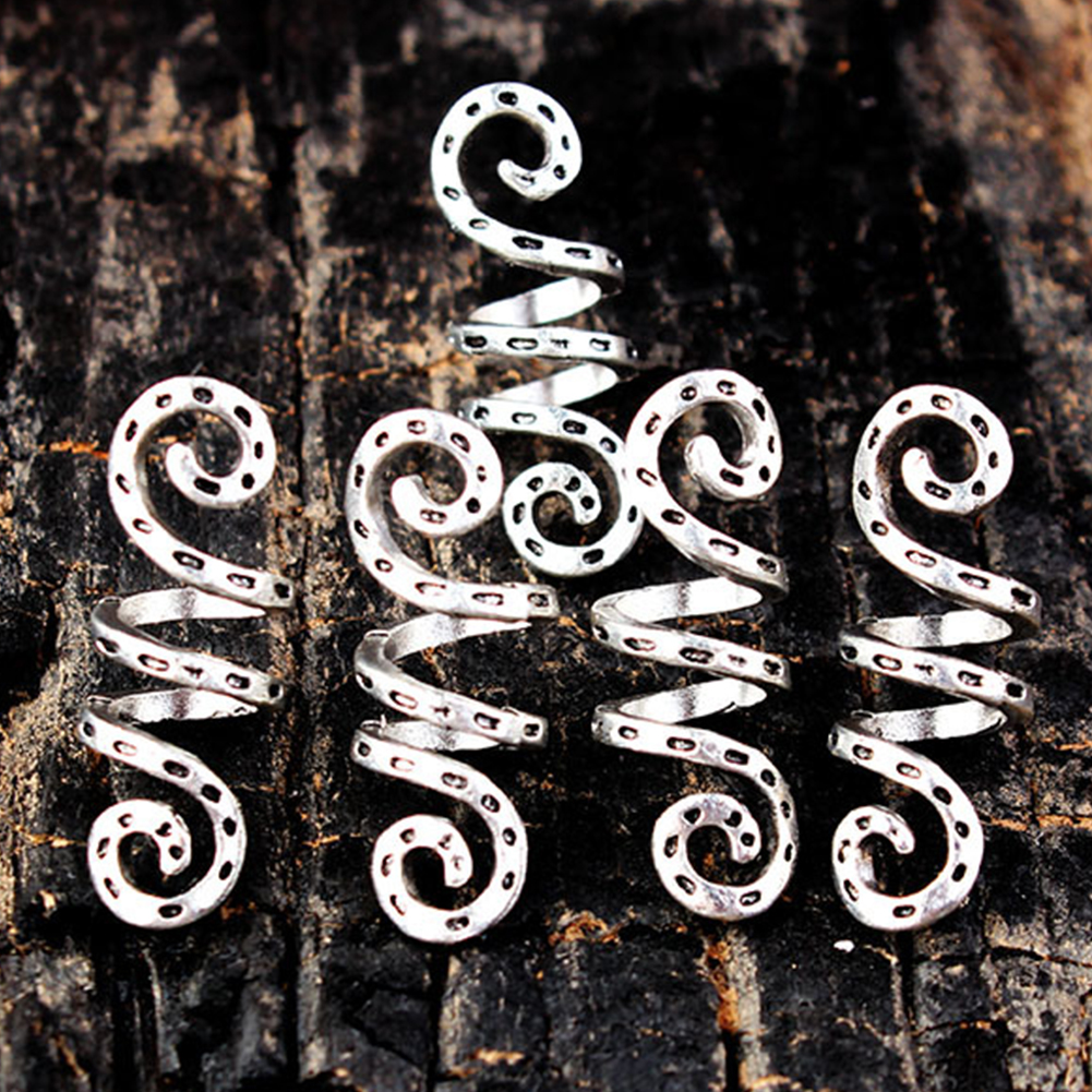 5Pcs Alloy Tube Dreadlock Clips Vintage Silver Braid Spiral Wig Beads Hair Ring Charms Accessories
