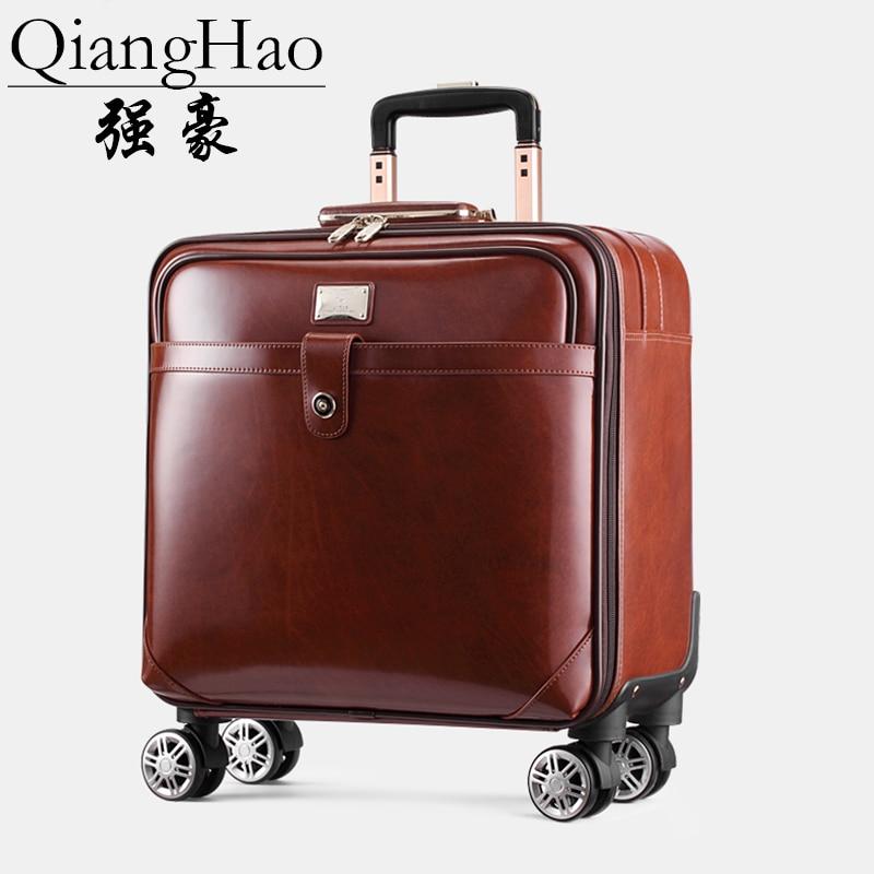 """QiangHao 100% ensemble de sac de valise de voyage en cuir de vache, boîte étanche avec roue, boîtier de chariot roulant 16 """"20"""" pouces-in Bagages à roulettes from Baggages et sacs    3"""