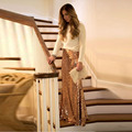 Beautiful Pretty Gold Sequin Skirt Customized Long Mermaid Trumpet Skirt Shiny Spring Autumn Women Skirts