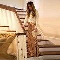 Hermosa Bonita Falda de Lentejuelas de Oro Personalizado Sirena Larga Trompeta Falda Brillante de Primavera Otoño Mujeres Faldas