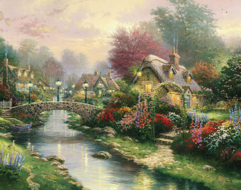1p thomas kinkade prints on canvas famous oil painting - Home interiors thomas kinkade prints ...