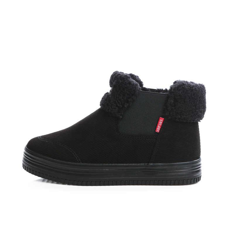 Kadın yarım çizmeler Düz 2018 Kadın Kış Kar Botları kaymaz Termal Kış Kürk sıcak ayakkabı Pamuk Çizmeler Botas Mujer