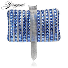 Rhinestones Tassel Acrylic Women Evening Bags Small Purse Day Clutches Handbags Mixed Candy Color Evening Bag
