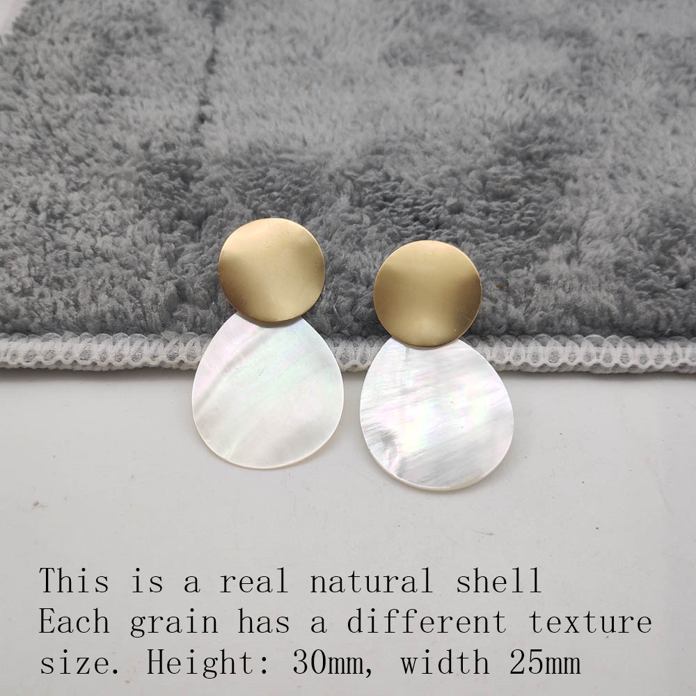 Fashion Wedding Jewelry Hanging Natural Shell Pearl Geometric Earrings High Quality Natural Shell Pendant Earrings for women P40 39