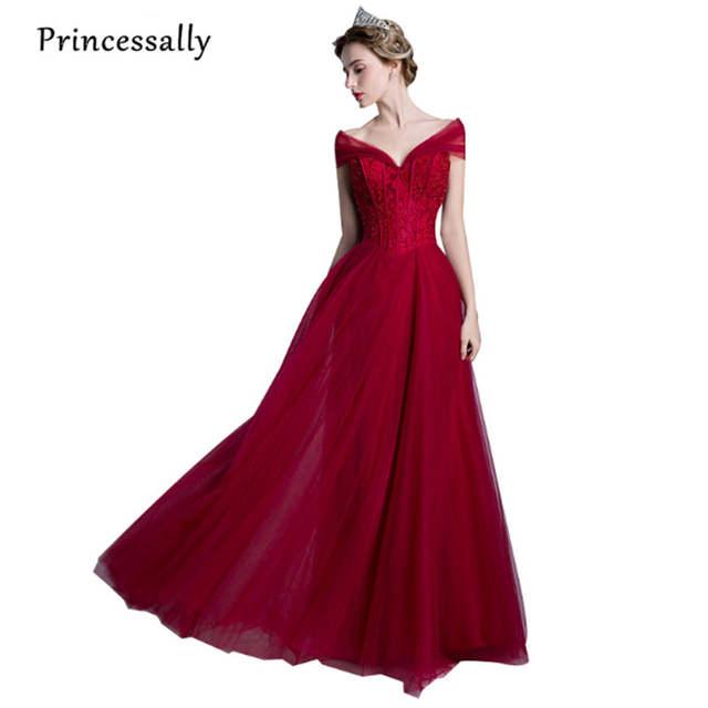 ff5f40e13f7f Vestido De Desta New Wine Red Evening Gown Elegant Long Lace Beading V neck  Sweetheart Formal