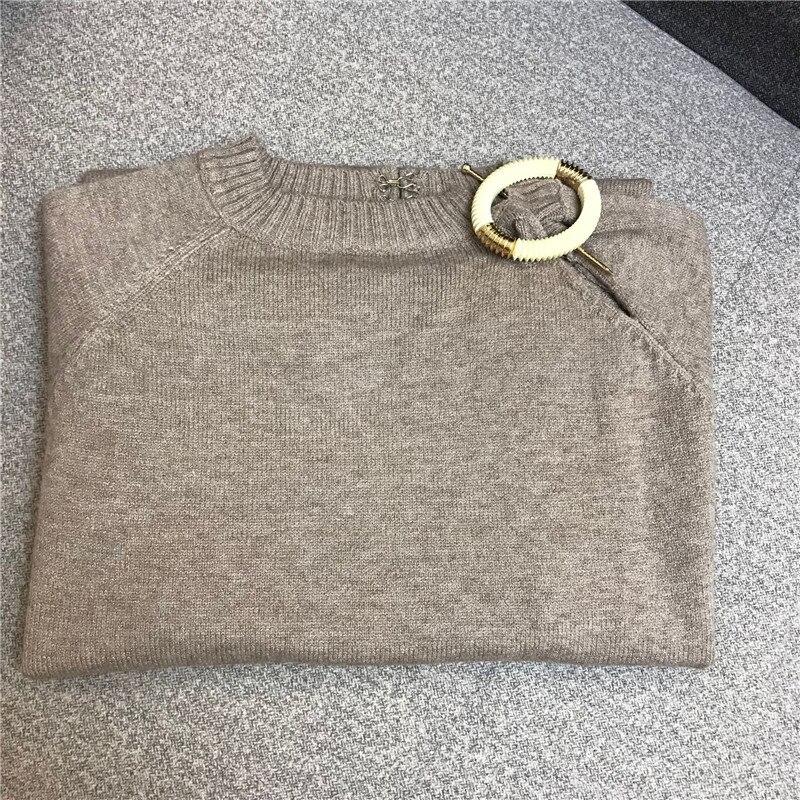 Femme F268 Jumper Et Pull Vintage À Tricoter Casual O Longues Femmes Outwear Printemps Cou Chandail Solide Kaki Automne Manches nxnqOpT
