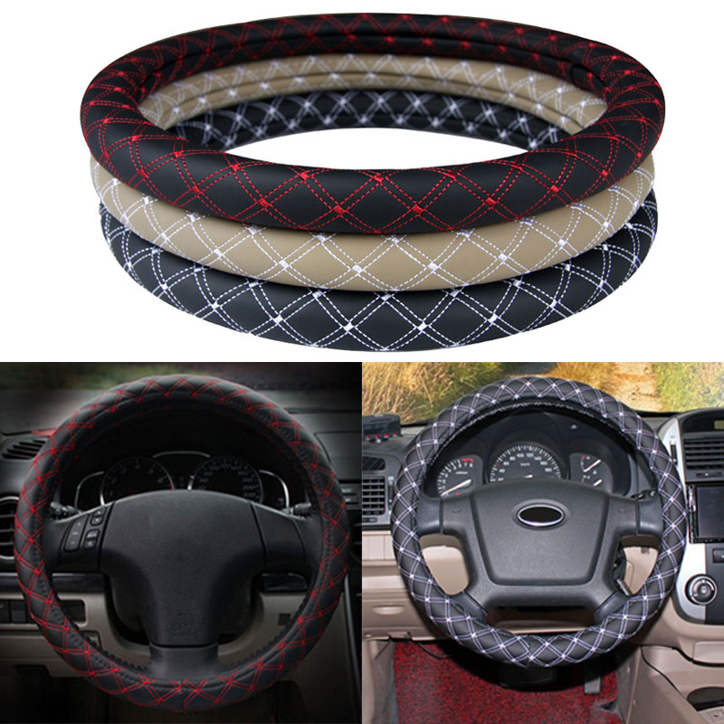 Car Styling Soft PU Leather Steering Wheel Cover Anti-slip Car Wheel Skins Covers Durable with Net Line CSL2018