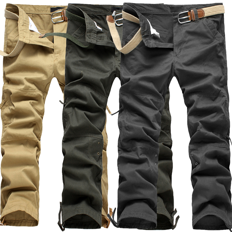 2017 new arrival high quality fashion Men's long cotton cargo pants, casual full pants. three colors. large size 30-40