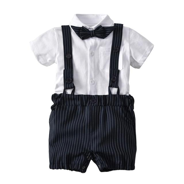 6061e396c43e Boys Fashion Form Cute Formal Dress Suits Children White 100%Cotton Bow  Short Sleeve Blouses +Striped Short Romper Pants Set Hot