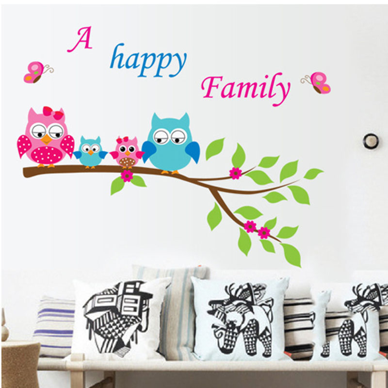 Animal Cartoon Owl Mural 3D DIY Vinyl Wall Stickers for Kids Rooms A Happy Family Tree Art Decals Home Decor De Parede Poster