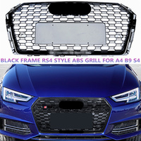 Black RS4 Style ABS Grill For Audi A4 B9 S4 Hex Mesh Racing Grille Front Bumper Sport Edition With/Without Emblem 2017 2019