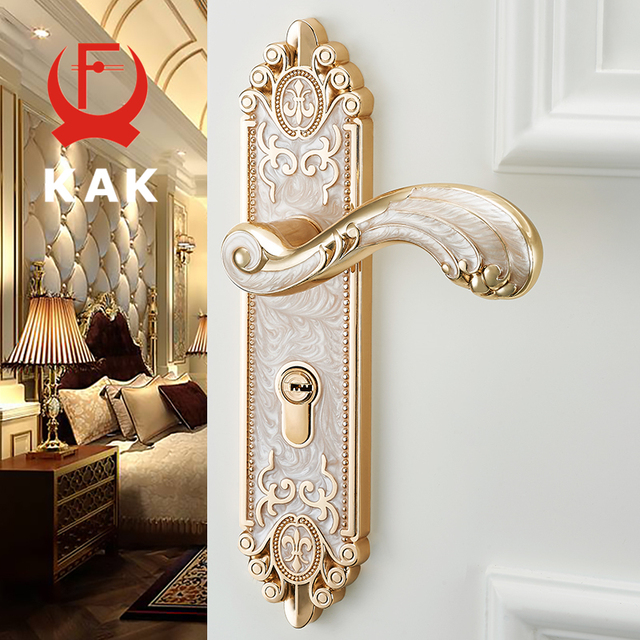 KAK European Style Mute Room Door Lock Handle Fashion Interior Door Knobs  Lock Luxurious Anti