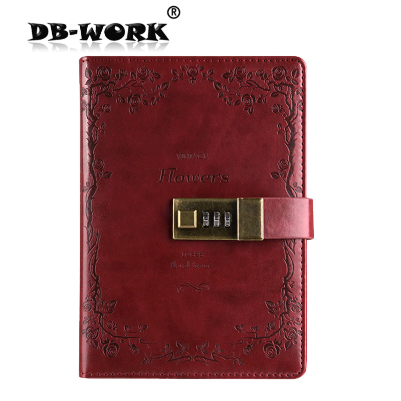 2018 The password lock diary bound notebook business notebook can be customized to South Korea creative stationery