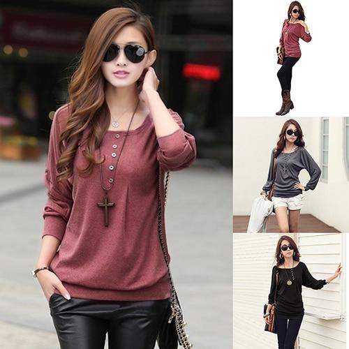 Fashion Women Autumn Batwing Sleeve Button Decor Lady TopShirt