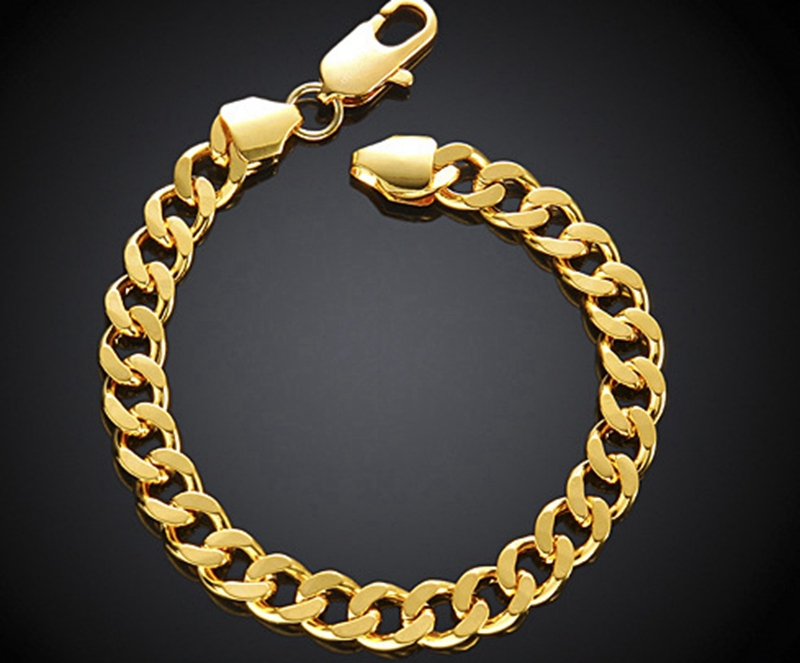 cb8c289796df0 Heavy Massive Stamped Yellow Gold Filled Mens Womens Bracelet Chain Cuban  Link Jewelry 20cm