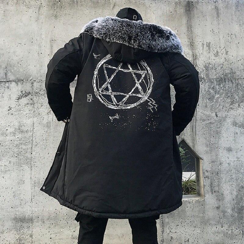 Chaqueta de invierno para hombre gruesa cálida chaquetas largas Parkas para hombre chaqueta con capucha de piel larga Otoño Invierno gabardina para hombre