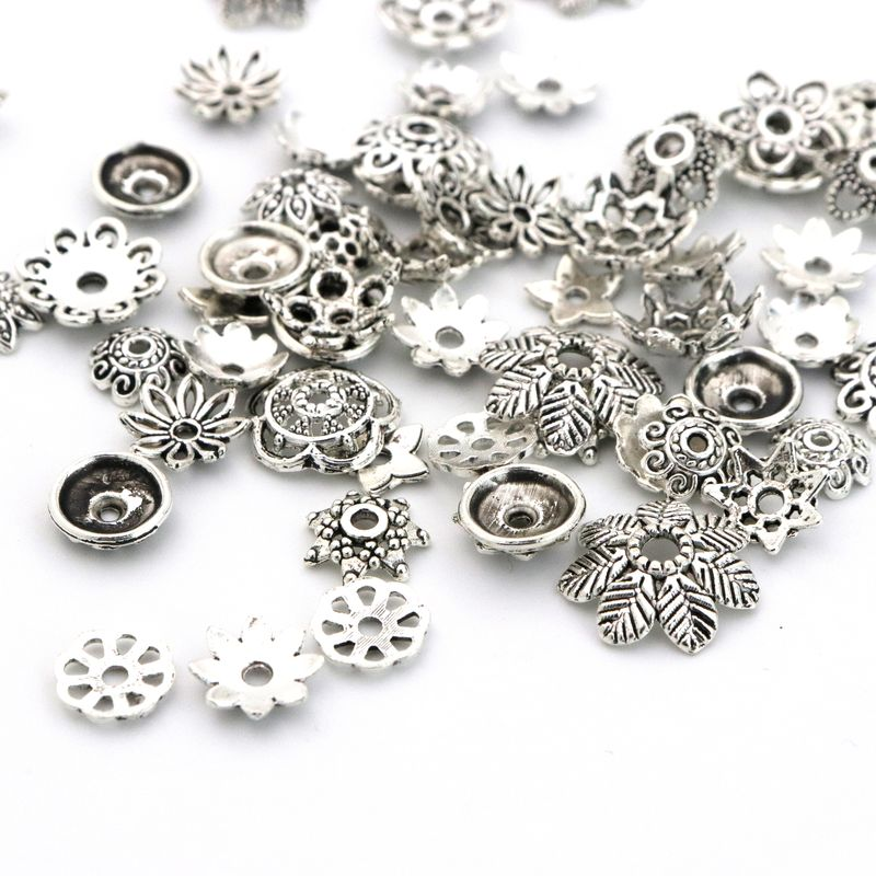 100pcs Big Mixed Tibetan Silver Flower Loose Spacer Bead Caps For Jewelry Making Findings Needlework Diy Accessories Wholesale in Jewelry Findings Components from Jewelry Accessories