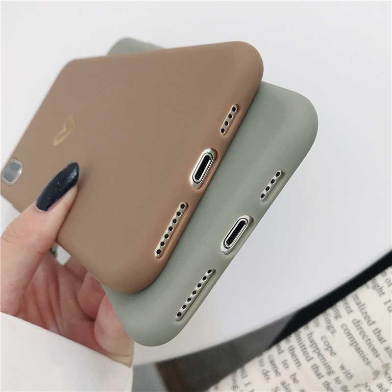 LOVECOM ชุบกรณีโทรศัพท์หัวใจสำหรับ iPhone 11 PRO MAX XR XS MAX 6 6S 7 8 PLUS X สี Candy Simple ซิลิคอน TPU ปกหลัง