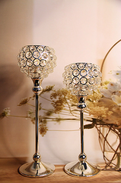 2piece In 1 Set Globe Acrylic Crystal Wedding Centerpiece Candle Holder For Decoration