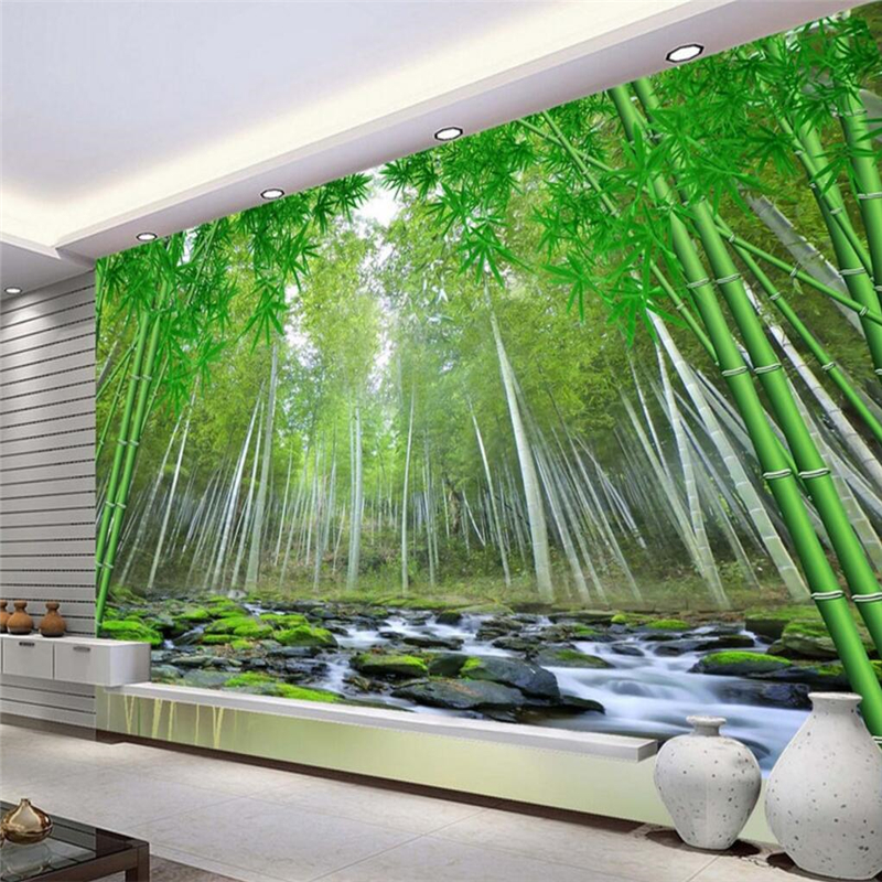 beibehang Large custom fresco wallpapers realistic 3D bamboo forest TV wall papel de parede para quarto wall paper beibehang large custom wallpapers fresco