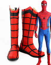 Superhero Spiderman Cosplay Boots Custom Made Superman Spider-man Red Long Shoes