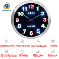 Home Decoration New Wall Clock 12 Inch Simple Digital Metal LED Lights Fluorescent Luminous Display Living Room Bedroom Clock