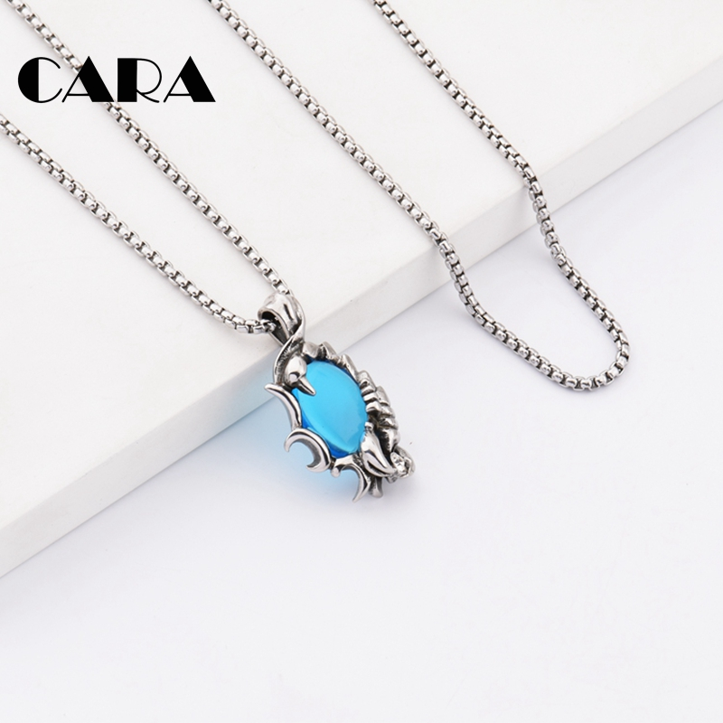 New unisex well polished 316L stainless steel pendant necklace scorpion charm necklace for men women with big crystal CAGF0329 in Pendant Necklaces from Jewelry Accessories