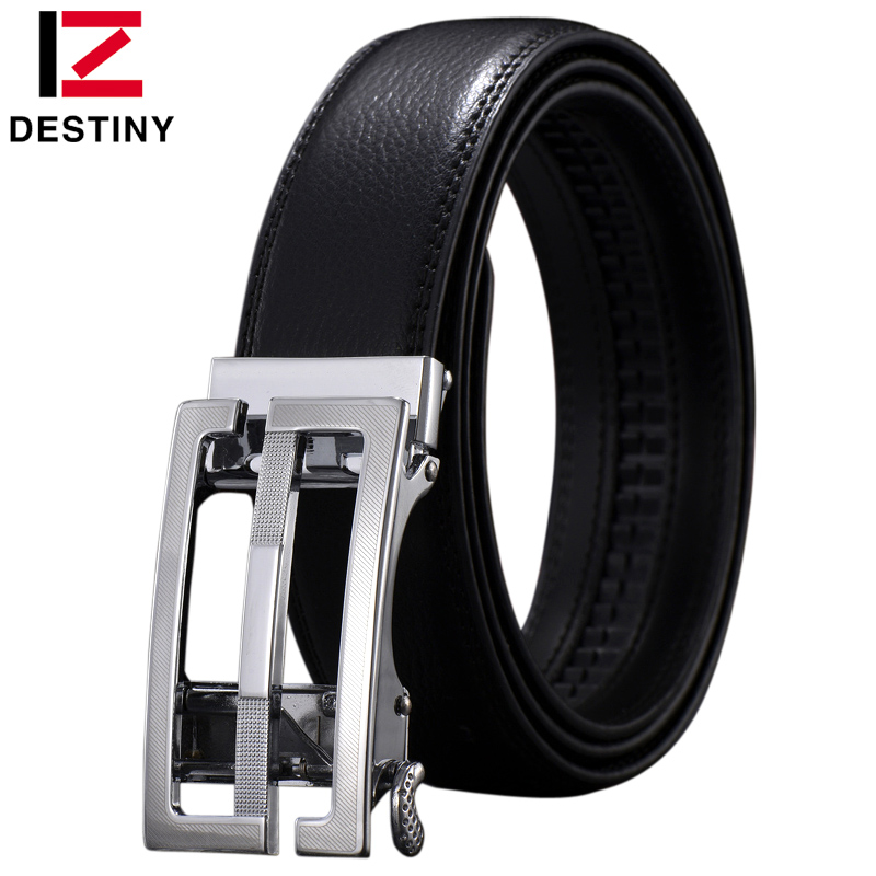 DESTINY Genuine Leather Fashion S G Designer Belt Men Luxury Brand High Quality Waist Strap Male Silver Automatic Buckle 5 Color