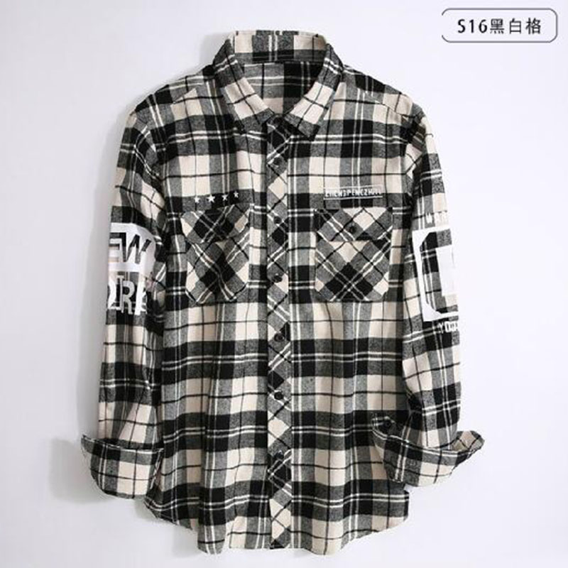 Hip Hop Style Men Long Sleeve Fashion Grind Shirts Camisa,Turn-down Collar Slim Fit Pure Cotton High Quality Pattern Shirts 17