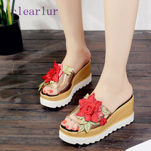 Summer new fashion wedge sandals womens open toe sweet flowers thick with ladies C0357