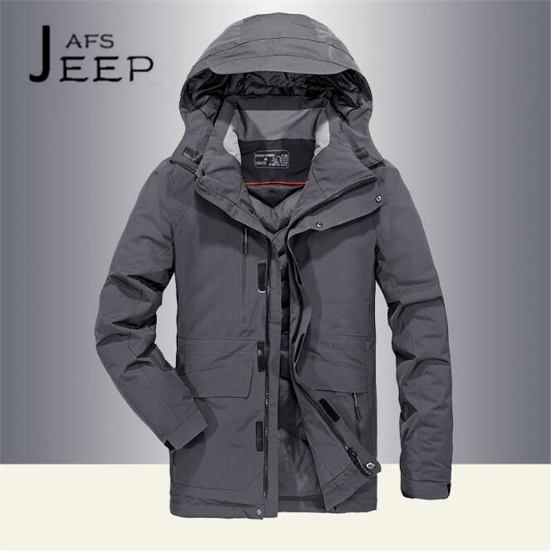 AFS JEEP Dark Gray/Ligh Gray Man's Chaqueta abajo 2017,intemperie Solid Thickness Militar Cardigan Pato blanco abajo coat winter