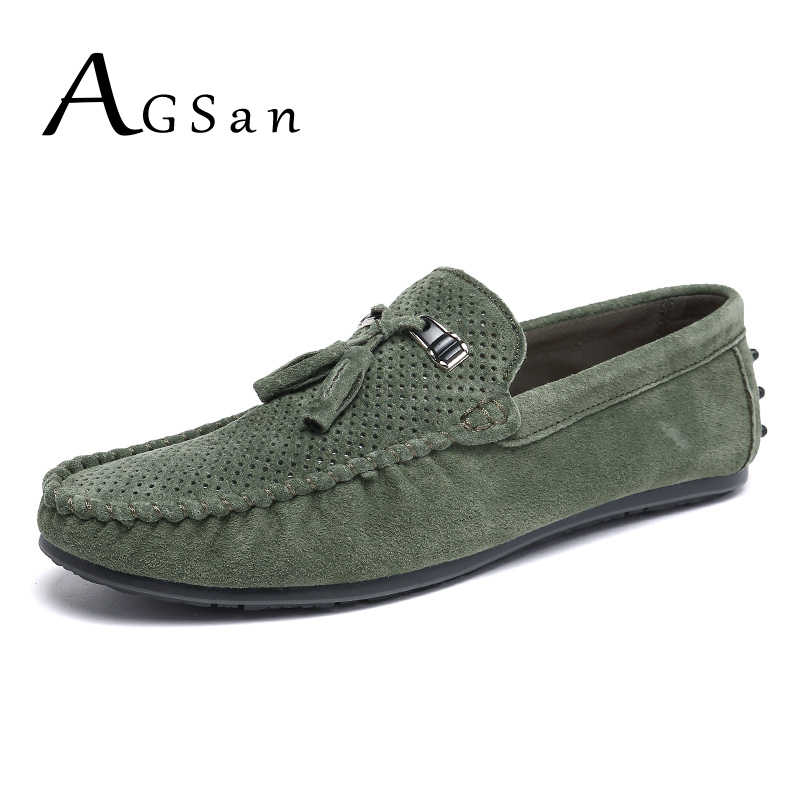 b9ce93df6974 AGSan suede loafers men tassel leather moccasins breathable driving shoes  male green slip on italian loafers