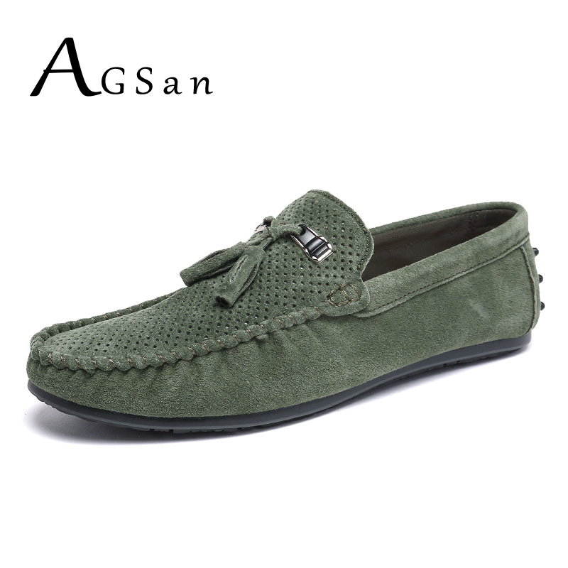 AGSan suede loafers men tassel leather moccasins breathable driving shoes male green slip on italian loafers flats casual shoes suede