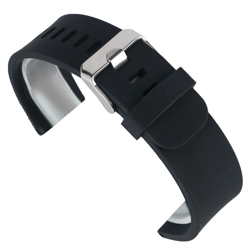 Rubber Silicone Watch Strap Black Bracelet 18mm 20mm 22mm Watchbands Sports Outdoor Waterproof Watch Band