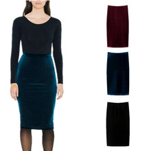 Fashion Women Solid Gold Velvet Tight Step Skirt Slim Skinny Pencil Skirts  Casual Outfit For Lady 8900f10e34af