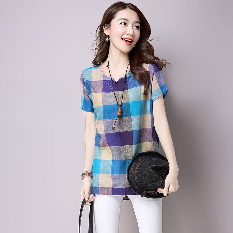 2018 summer casual women shirts plus woman clothes short sleeve loose cotton linen women tops female blouse